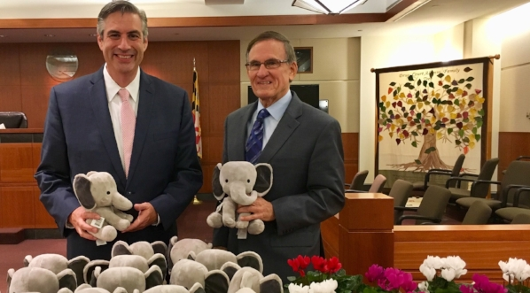 For National Adoption Day, Bob Duckworth and I gave out stuffed elephants to each adopted child.