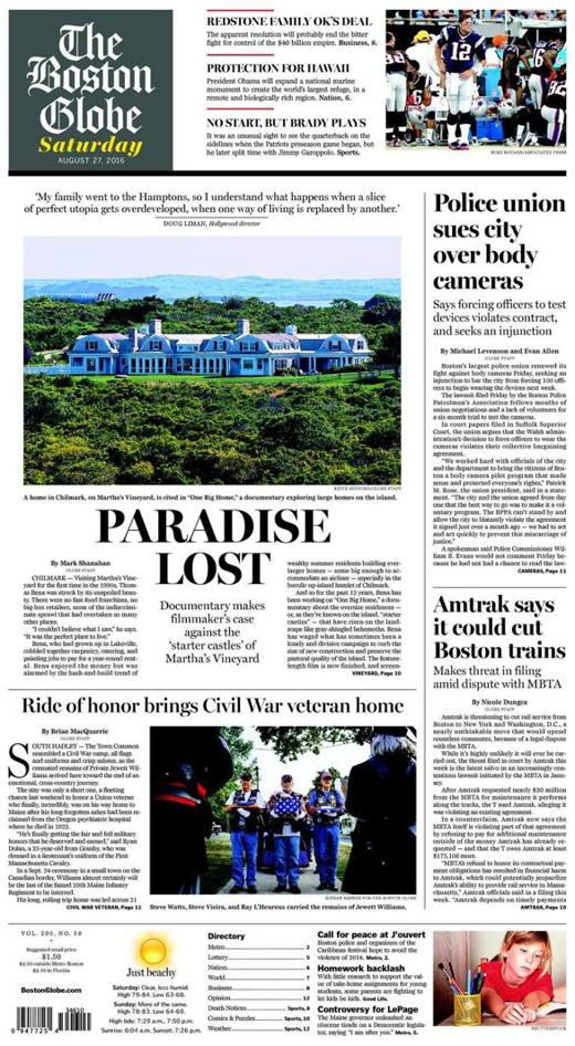 One Big Home   featured on the Front Page of the Boston Globe, Saturday, August 27, 2016.      READ THE ENTIRE ARTICLE BELOW: