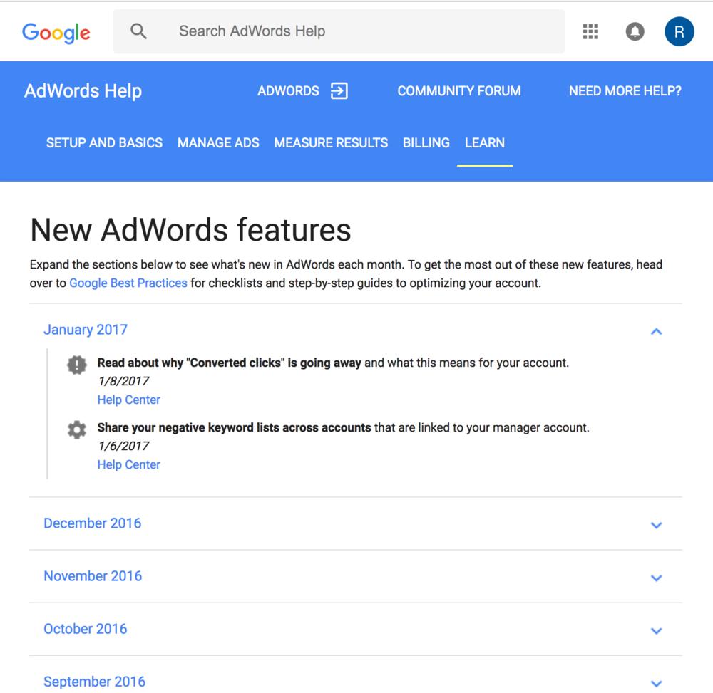 adwords help center — roxanne pinto