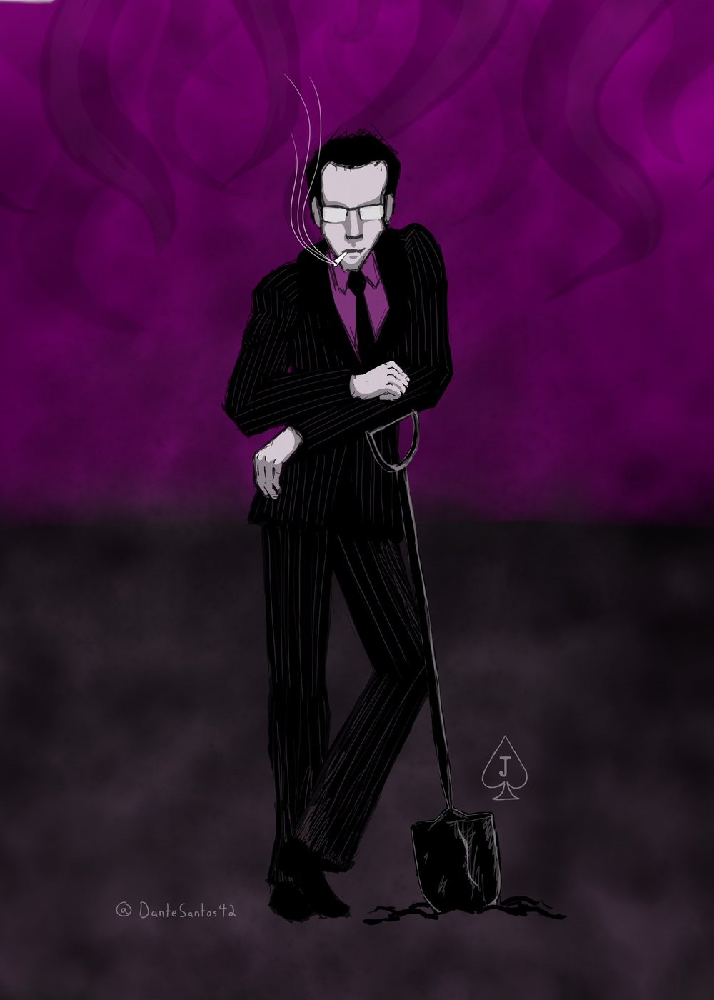 """The man Jack"" from the Cthulu and Friends podcast as the Jack of Spades for the Geekly deck of cards - digital painting"
