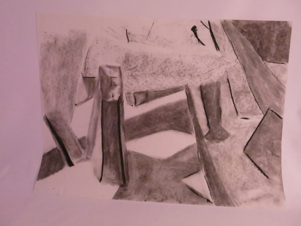 White shapes - charcoal