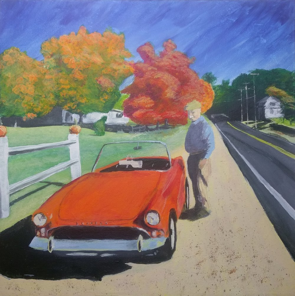 My dad and his car in Jaffrey NH - Acrylic on canvas