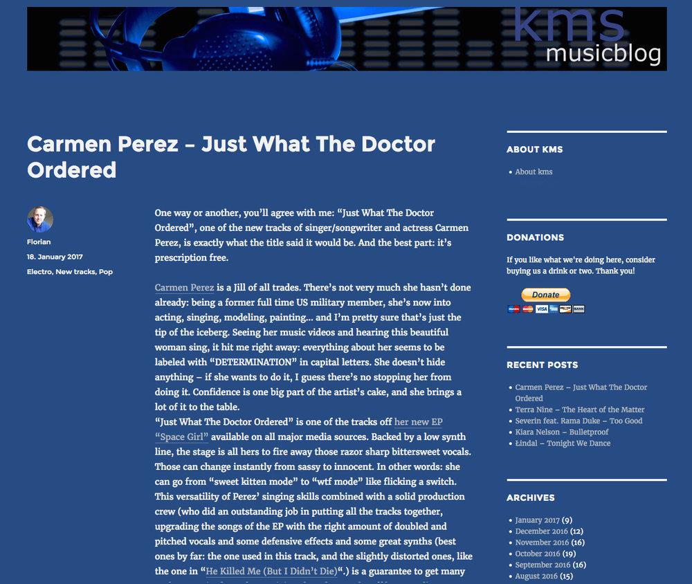Carmen Perez on KMS Music Blog