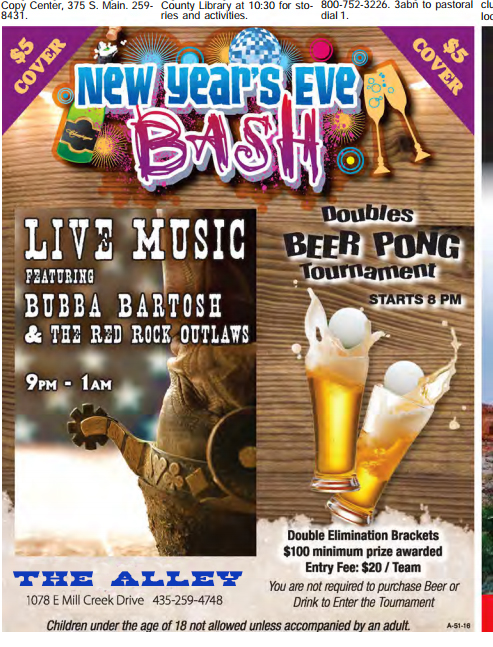 New Years Eve 2016  Bubba Bartosh & The RedRock Outlaws