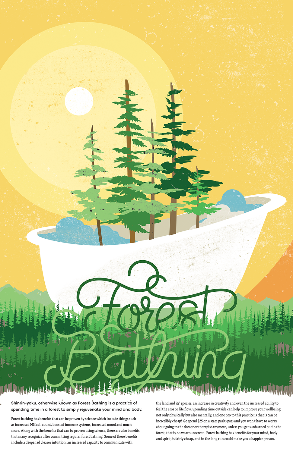 Forest Bathing - A poster created as part of a Zine detailing the ideals behind Forest Bathing