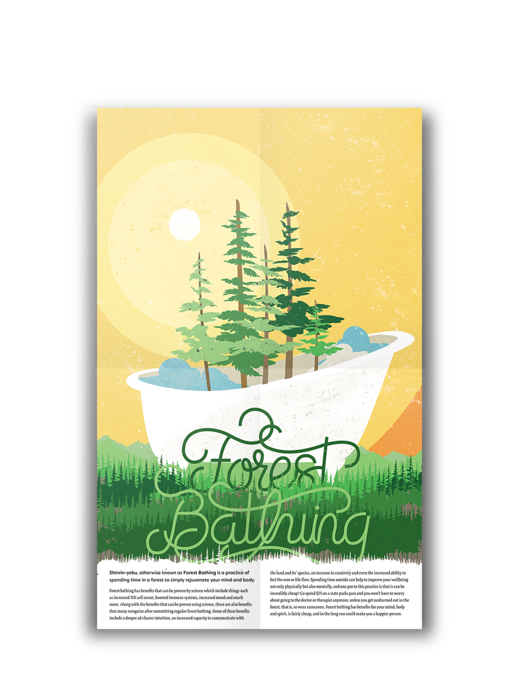 Forest Bathing - Tabloid sized poster created for the inside of a Zine which detailed the positive affects of forest bathing.