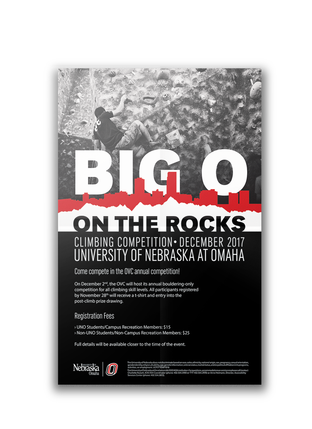 Big o on the rocks - A Poster for the rock climbing event at the University of Nebraska at Omaha.