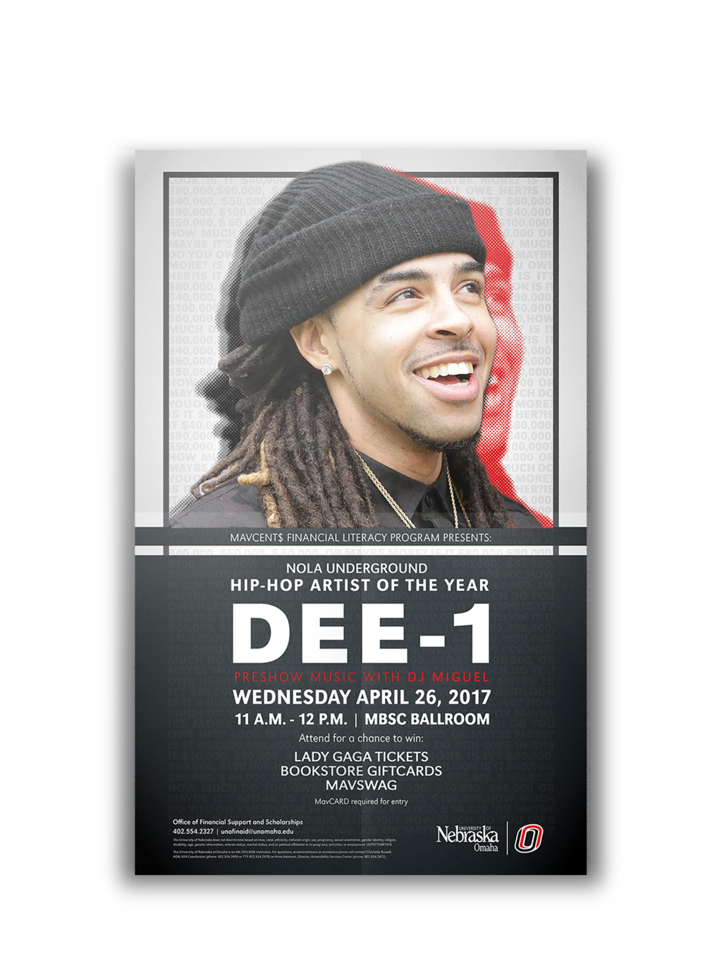 DEE-1 Concert - Poster for Hip Hop artist Dee-1 hosted by the University of Nebraska at Omaha