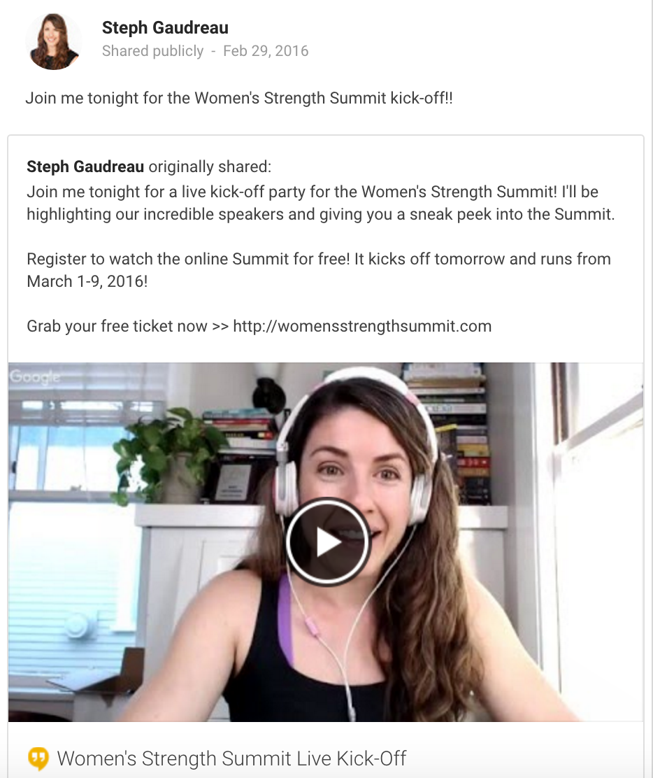 "In addition to hosting a Google Hangout kick-off for her online Women's Strength Summit, Steph Gaudreau created and moderates a private Facebook group for those who ""attended"" the Summit."