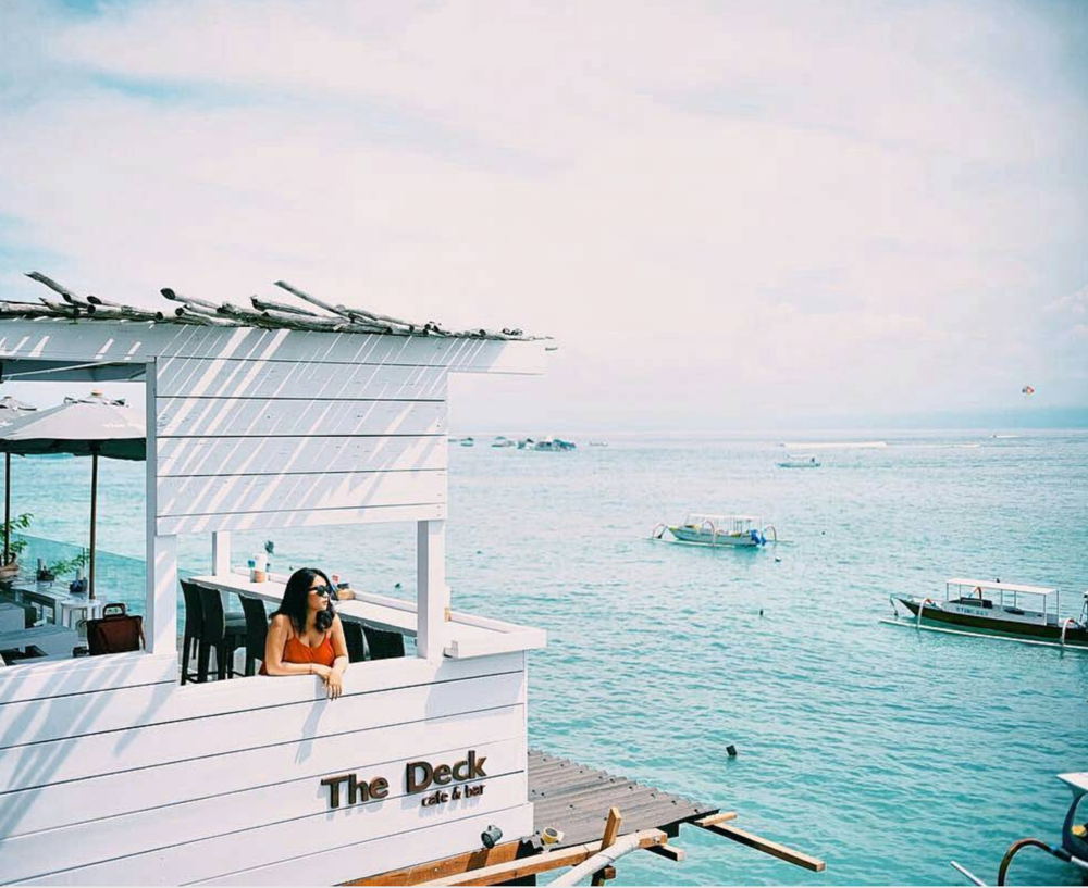 The Deck Cafe & Bar  The Deck is the epitome of a tropical oasis with insane views, whitewashed wood and flowers all around. Definitely a place to include in your bucket list.  -8.679771, 115.443398, Unnamed Road, Jungutbatu, Nusapenida, Klungkung Regency, Bali 80771, Indonesia   www.thedecklembongan.com   Photo courtesy of  @geg_caca