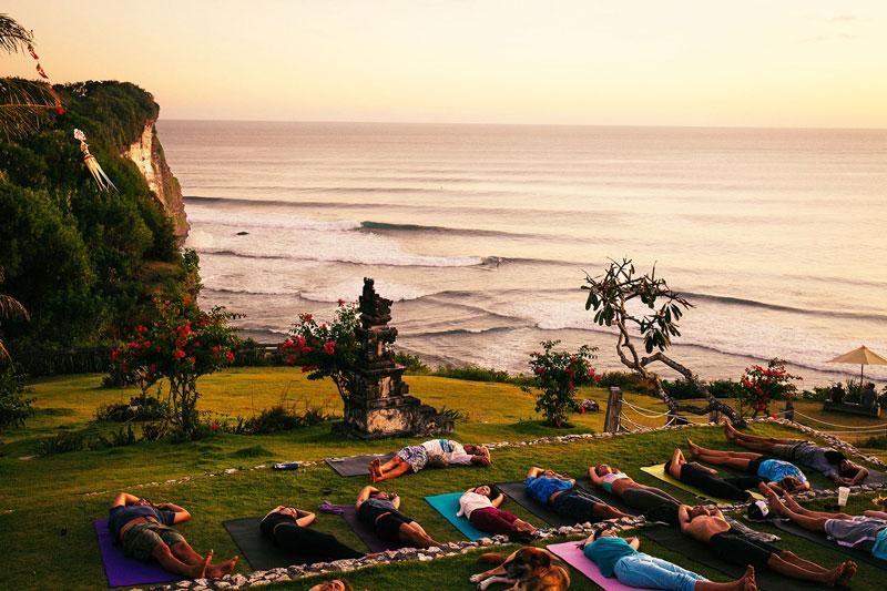 "Morning Light Yoga  ""This yoga shala is also surrounded by a sea of green jungle, but trumps Desa Seni's setting already gorgeous setting with its ocean views."" -Michelle Case    Jl. Pantai Suluban, Uluwatu, Pecatu, Kuta Selatan, Pecatu, Kuta Sel., Kabupaten Badung, Bali 80364, Indonesia  +62 817-555-365  Photo courtesy of Trip Canvas"