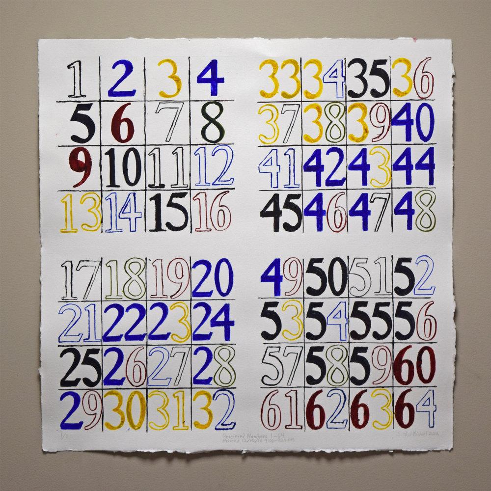 Monotype. Numerals 1-64