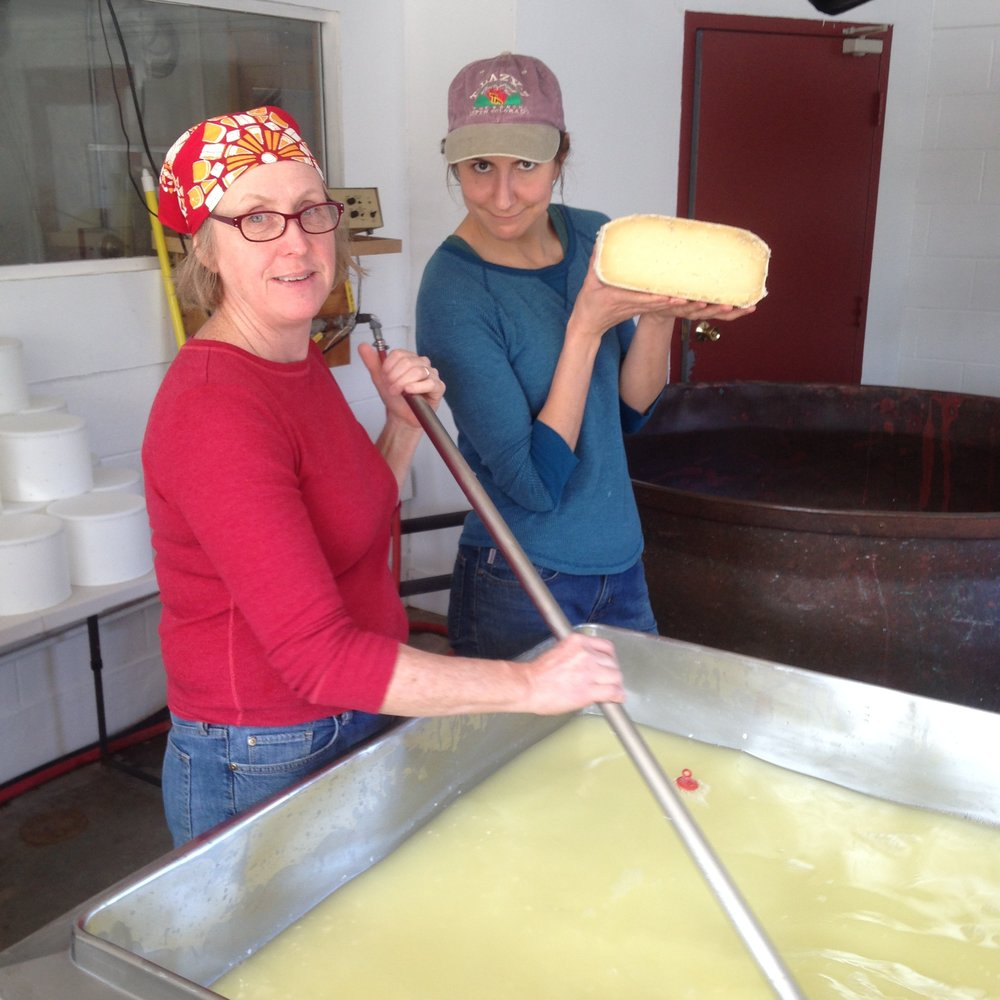 Sue and Stef working on a collaborative clothbound cheddar.