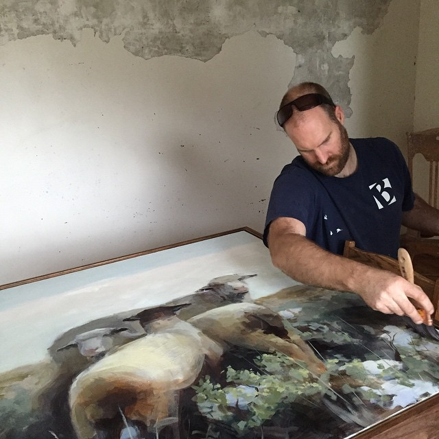 Nothing like a last minute varnish. We're real good at deadlines, but now we're on our way to Meyer gallery. Mark is part of a landscape show. The opening is this Friday 6-9 Park City during gallery stroll.