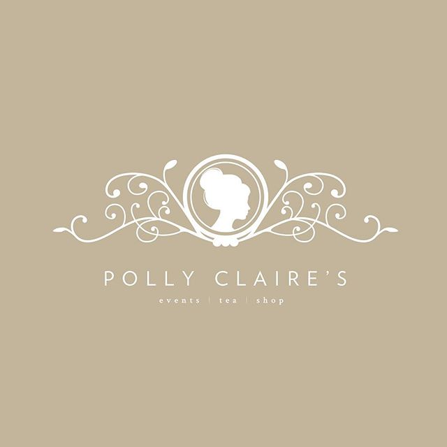 Brand for @pollyclaires in Chattanooga, TN ☕️ // #branding #tea #tearoom #graphicdesign #logo #design #classic #flourish #ornament #sillouette #vignette #victorian