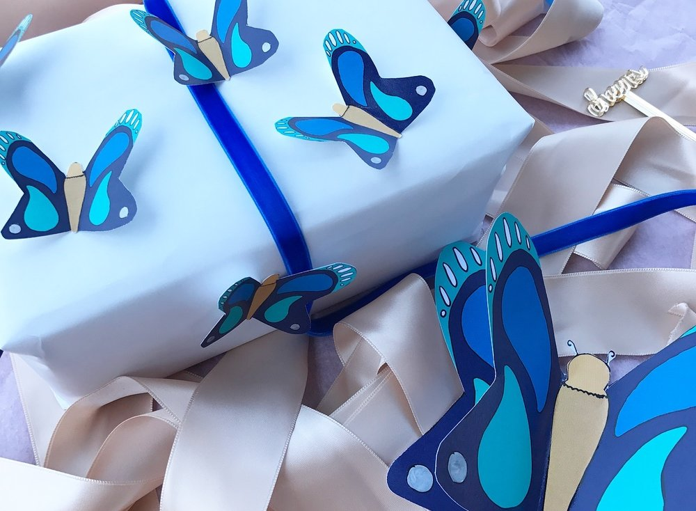 - butterfly card and gift tags