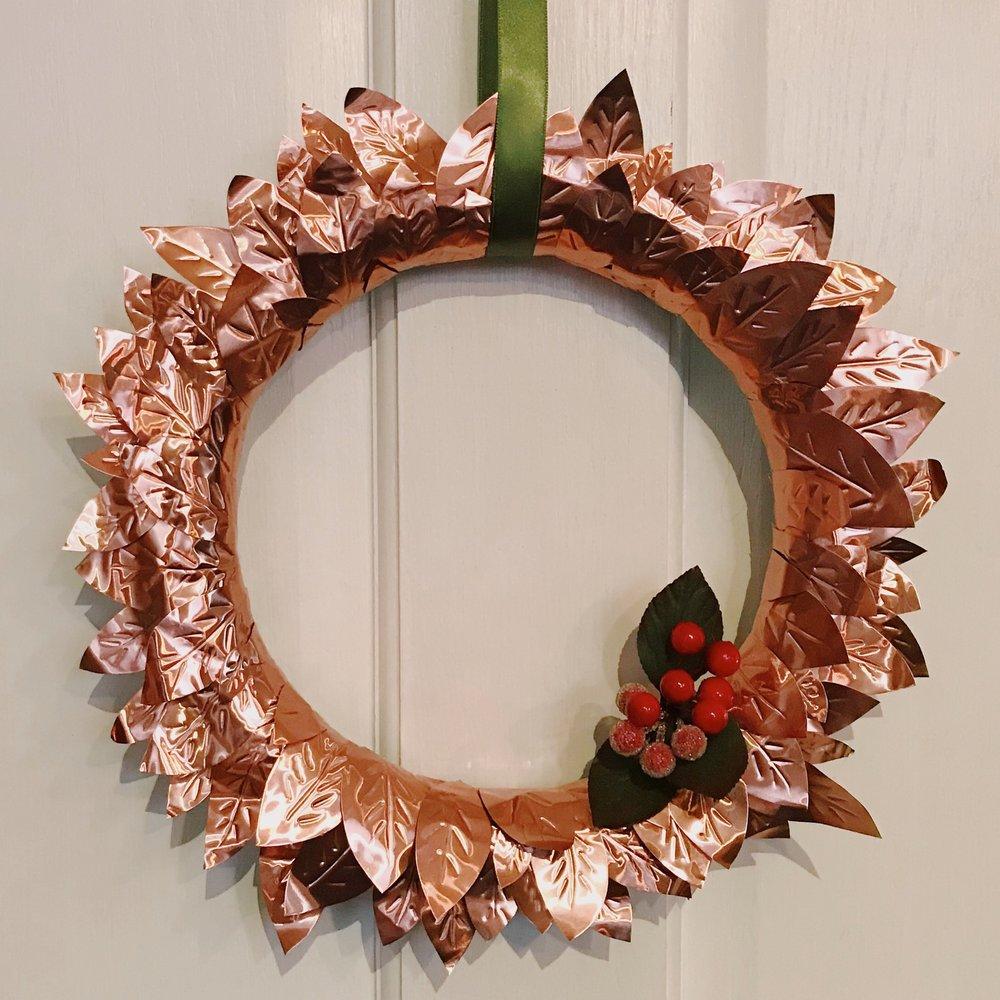 - diycopper leaf wreath
