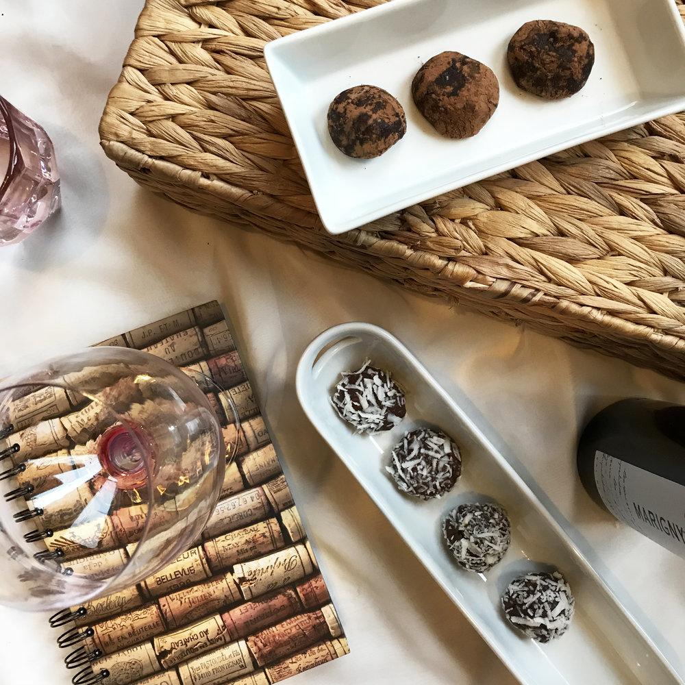 pAIR A RICH CHOCOLATE DESSERT WITH A BOLD WINE - sunday night wine club: chocolate truffles and pinot noir