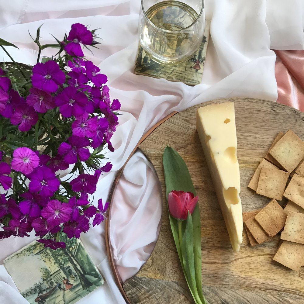 sunday night wine club - jarlsberg & almond crackers with chardonnay