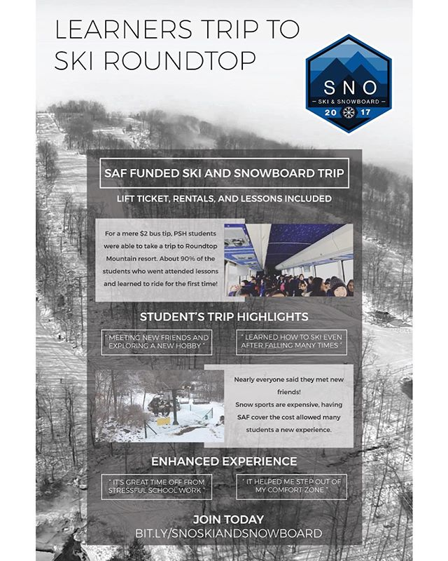 Poster for Ski and Snowboard Club at Penn State Harrisburg - #sno #snoclub #psh #pennstateharrisburg #poster