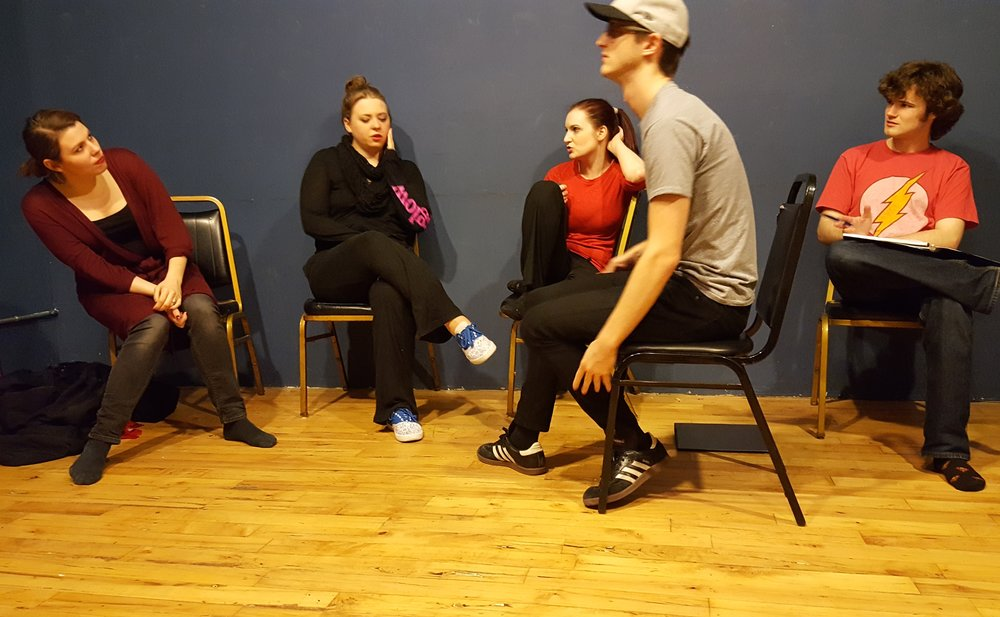 Emma Palizza, left, rehearses for a scene in Six Characters in Search of an Author, which opens later this month.