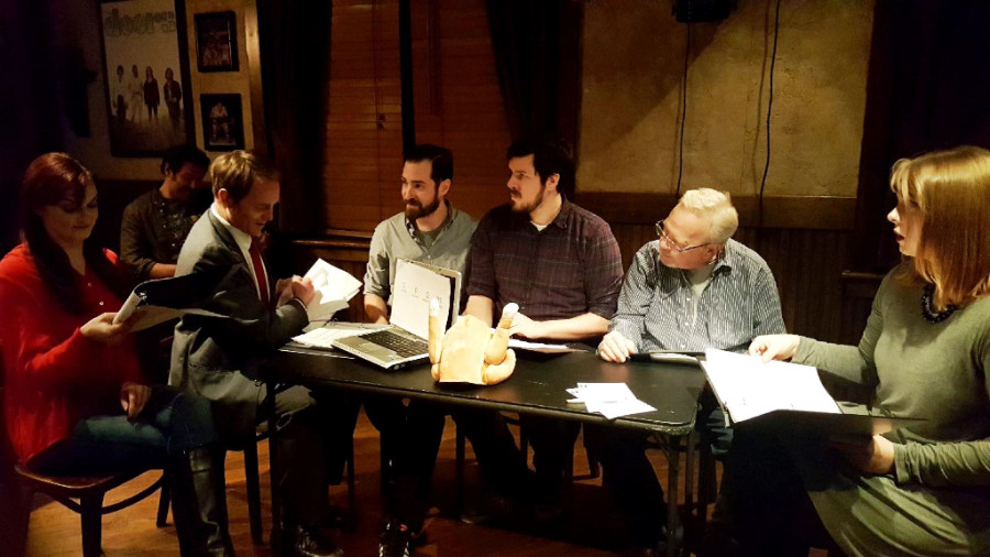 From left: Miona Lee,  Dennis Davies, Nick Conrad, Christopher Paul Mueller, Paul Tinsley and Jean E. Burr in How I Met Your Mother's Slapsgiving episode. (Photo by Dana Tedesco)