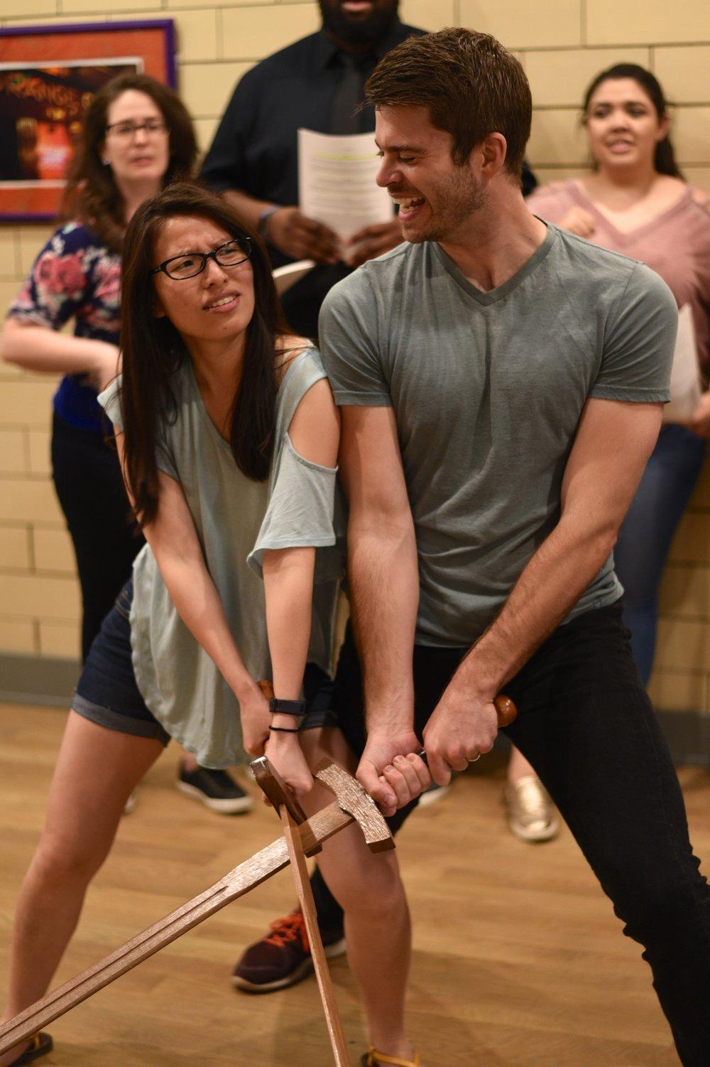 Pearl Paramadilok as Princess Sweet Pea (left) and Brian Barber as Brax (right) in rehearsals for  The Princess Without Pots .