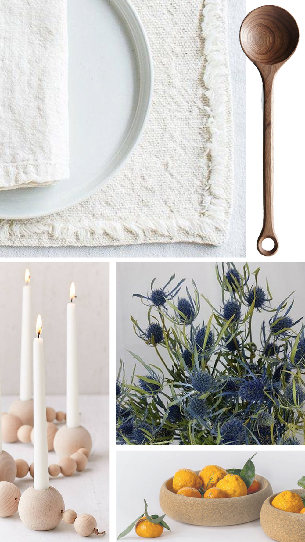 table - Create a neutral base with natural linen tablecloth, placemats or runner, layer with wooden candle holders, mix and match with darker wood tones or cork for serving ware. Pops of green and blue in dried thistle evoke twilight hues.