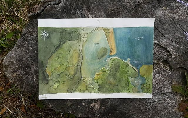 New photo of an old map I painted for the Climate Safe House Project.  Watercolour on cotton.  #watercolour #painting #interiordesign #design #spatialdesign  #paint #windsorandnewton #cotton #climatesafehouse #landscapearchrendering