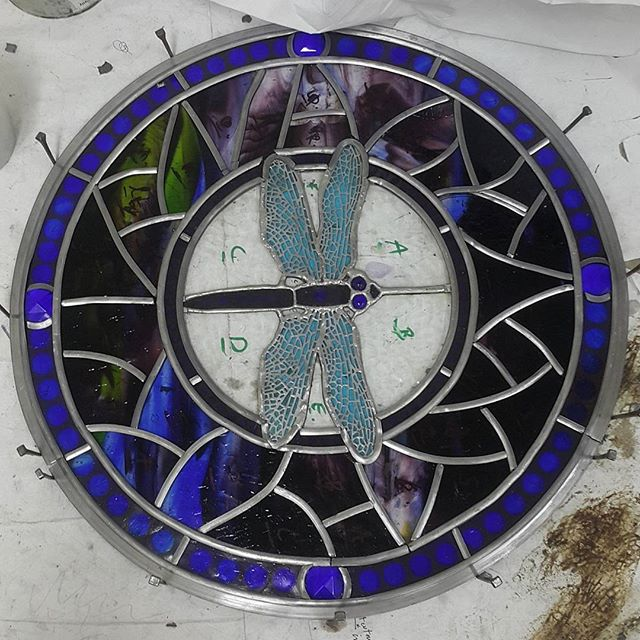 All ready to be soldered! Thank you for all the help @hoihopenguin !  #stainedglass #glass #window #leadlight #kokomoglass #interiordesign #spatialdesign #design #architecture #dragonfly #pearling #lead #dunedin #art #newzealand