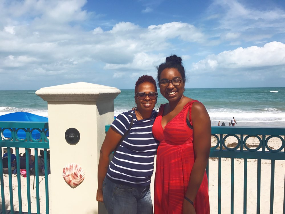 black-women-mom-daughter-red dress-ocean