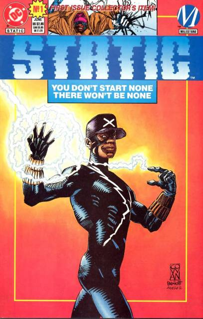 Dwayne McDuffie (American, b. 1962 - 2011), Denys Cowan (American, b. 1961), Michael Davis (American, b. unknown) Static #1, June 1993, Paper Comic Book, Milestone Comics, Courtesy of  © MARVEL