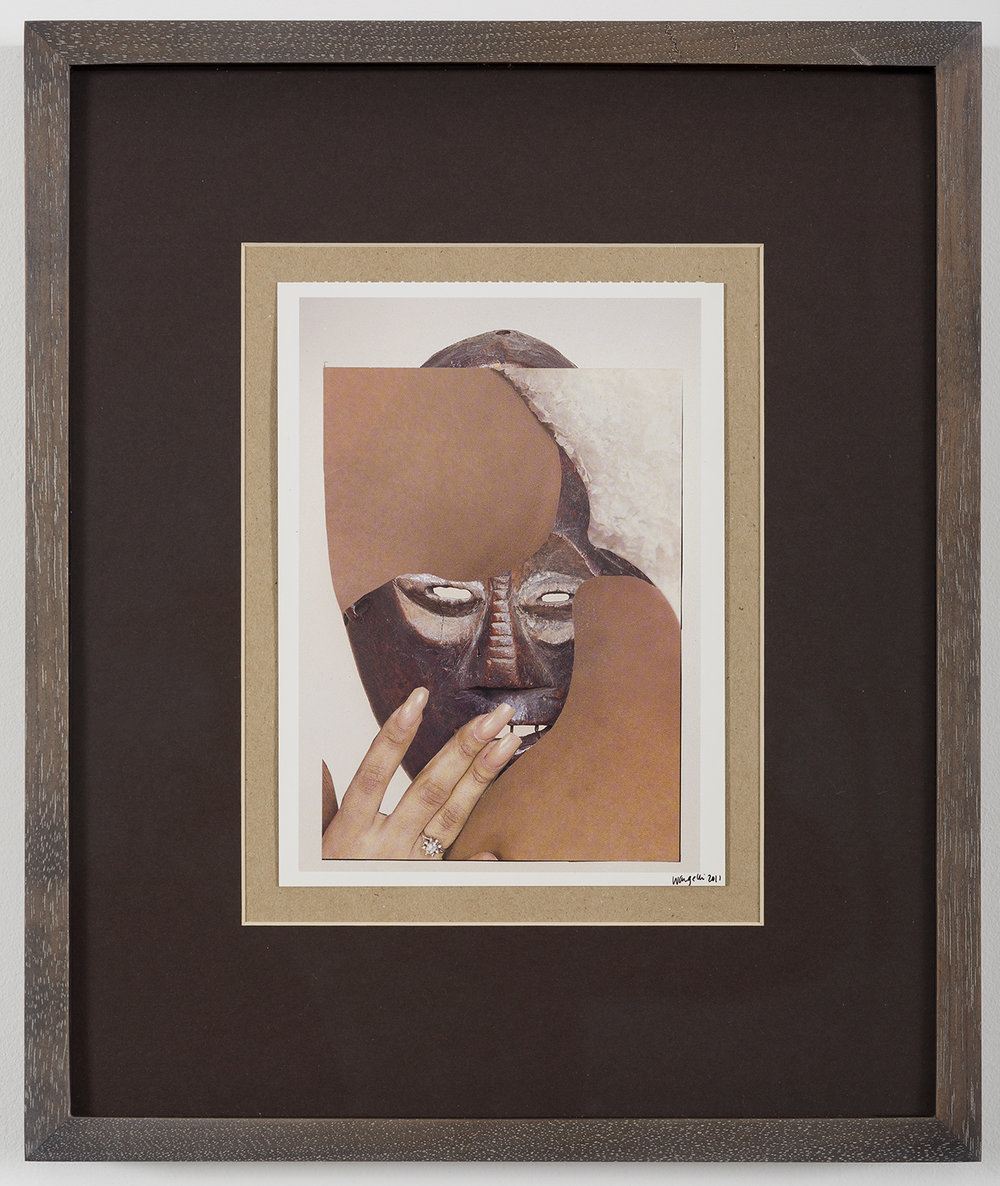 Ngbaka People, 2011. Collaged paper on postcard, 6.5 x 4.75 inches, Wangechi Mutu.