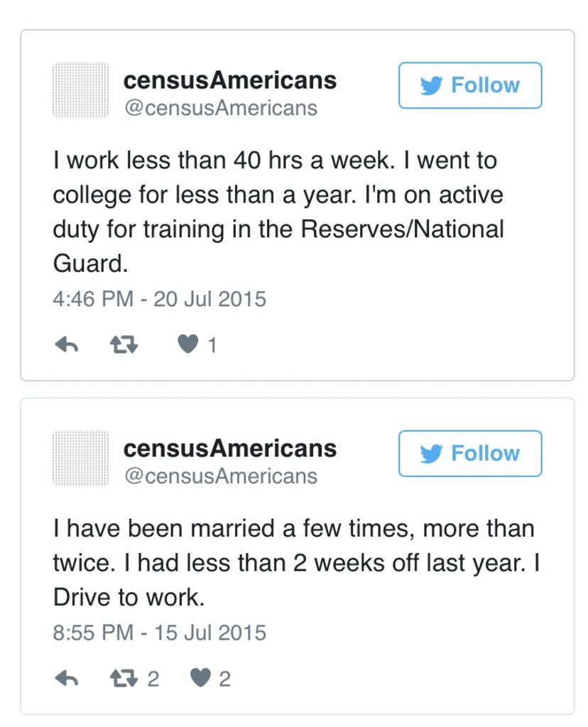 538.com developed a twitterbot that converts raw census data into autobiographical sentences. Humanizing data.