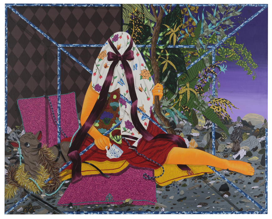 "Deer Whisperer, 2016. Acrylic and collage on paper mounted to canvas. 5' x 4' x 1.75"". Courtesy of the artist and Gordon Gallery"