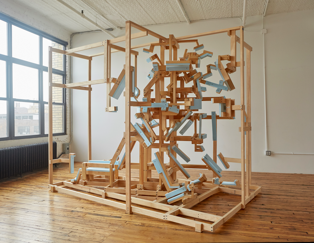 "Norm Paris, ""Shipping Loss (Byner and Castillo),"" 2015; wood, metal, foam, 9 x 10 x 8 feet"