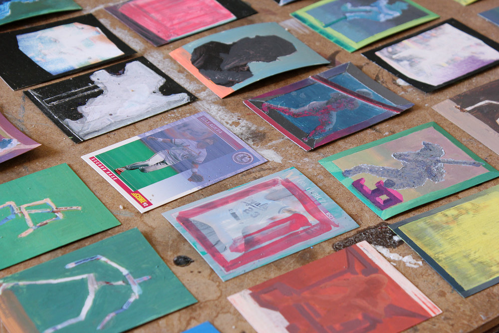 Norm Paris Studio, Sports Card Paintings, Dimensions Variable