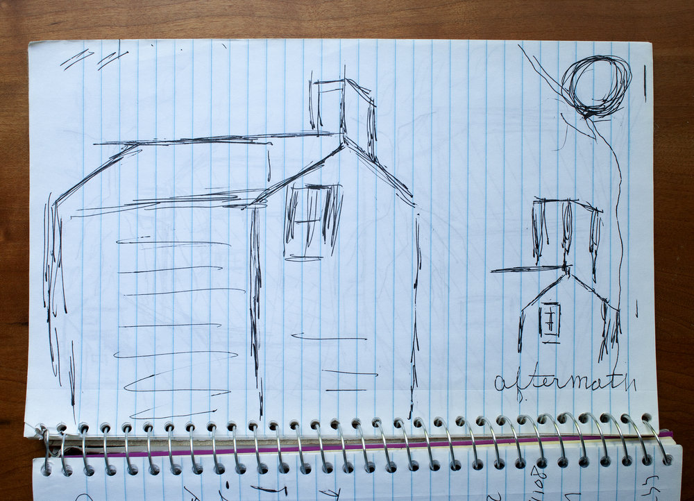 Aftermath, Nannie's drawing of her house, 2018