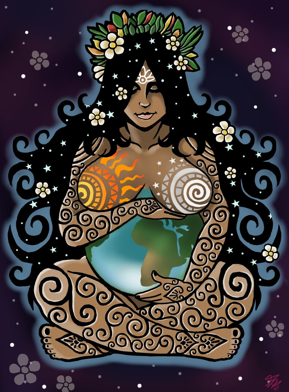 - Is a goddess revered by the indigenous people of the Andes. She is also known as the earth/time mother. In Inca mythology, Pachamama is a fertility goddess who presides over planting and harvesting, embodies the mountains, and causes earthquakes. She is also an ever-present and independent deity who has her own self-sufficient and creative power to sustain life on this earth. Her shrines are hallowed rocks, or the boles of legendary trees, and her artists envision her as an adult female bearing harvests of potatoes and coca leaves. The four cosmological Quechua principles - Water, Earth, Sun, and Moon - claim Pachamama as their prime origin, and priests sacrifice llamas, cuy (guinea pigs), and elaborate, miniature, burned garments to her. After the conquest by Spain, which forced conversion to Roman Catholicism, the figure of the Virgin Mary became united with that of the Pachamama for many of the indigenous people. In pre-Hispanic culture, Pachamama is often a cruel goddess eager to collect her sacrifices. As Andes cultures form modern nations, Pachamama remains benevolent, giving, and a local name for Mother Nature. Thus, many in South America believe that problems arise when people take too much from nature because they are taking too much from Pachamama.