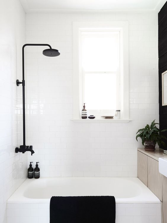 i'm love, love, loving the black fixtures in this bathroom. it's such a beautiful statement and nice contrast with the stark white! this is definitely not in our budget but i'll take all the inspiration i can get and  maybe  tackle a DIY project.