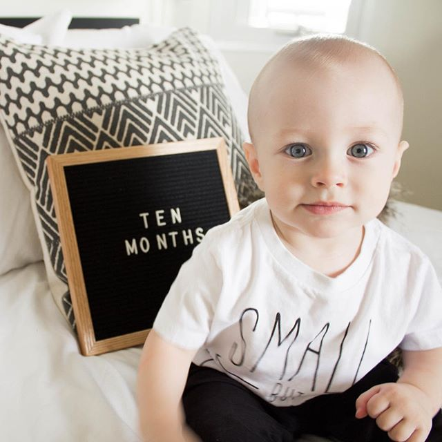 "hi guys! 👋🏻 i'm ten months. okay, well actually 11 months now but mama never got around to posting my photo. not too many things have changed this month, but the few that have are that i constantly babble and only like saying dada, and i am really starting to develop my own personality. i love to flirt with company by raising my eyebrows and when i am told ""no"" with a stern voice, my only reaction is to laugh and ignore you. stay tuned for my eleven month photo that is due...now. #betterlatethannever"