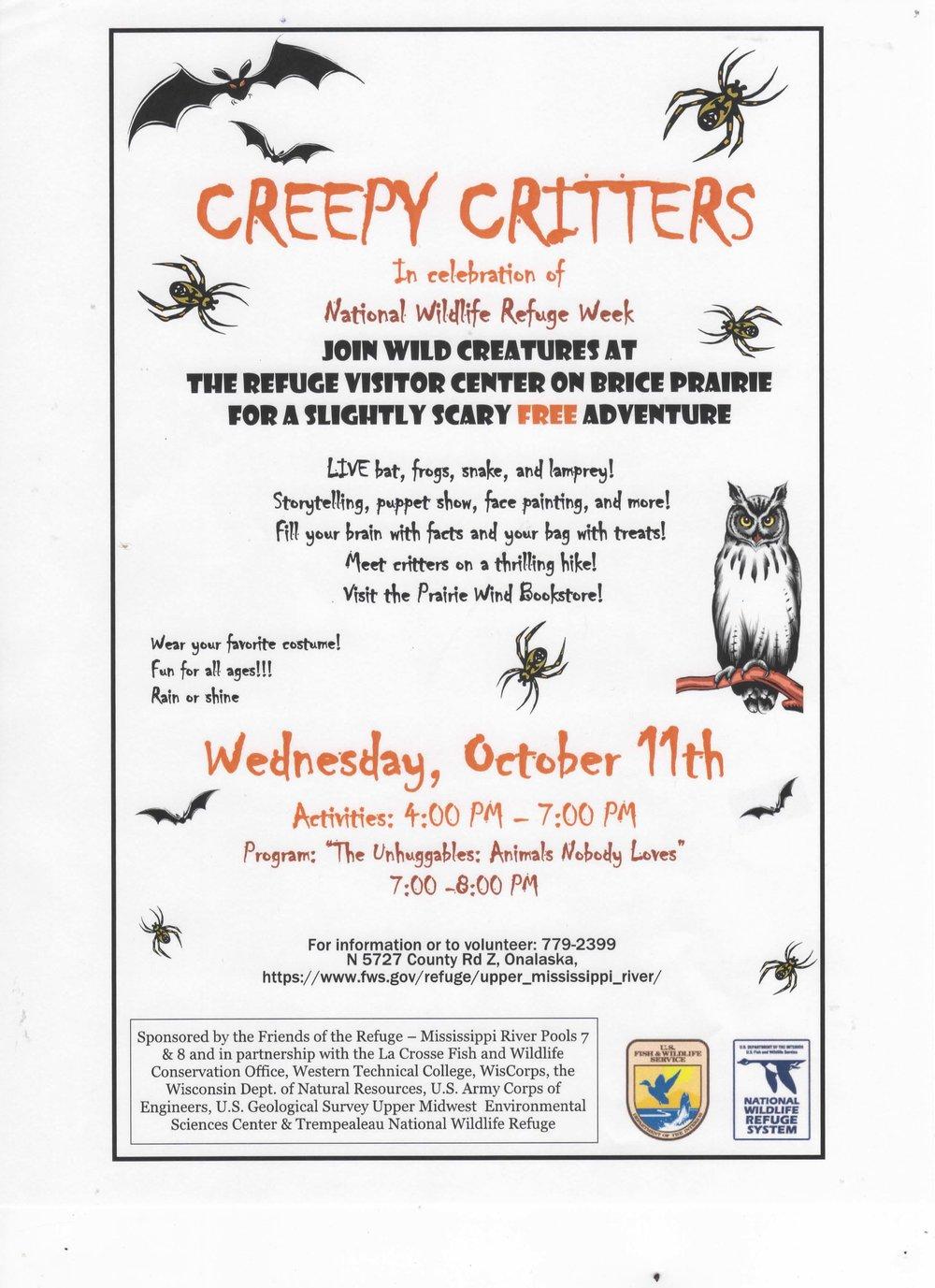 Creepy Critters Upper Mississippi Refuge Visitor Center Friends