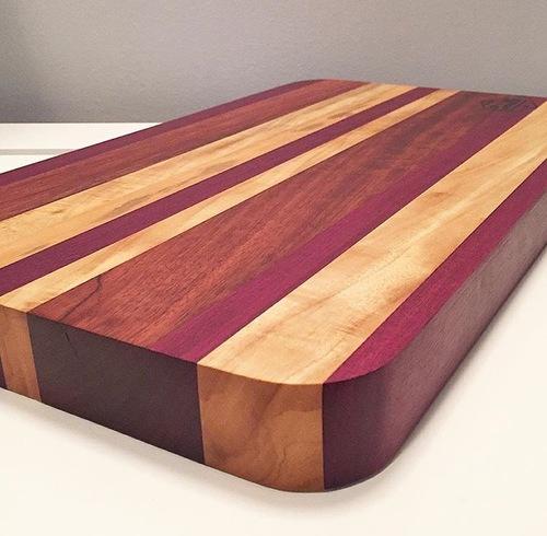 Purple Heart  Bubinga  Primavera and Marble Wood Cutting Board. Purple Heart  Bubinga  Primavera and Marble Wood Cutting Board