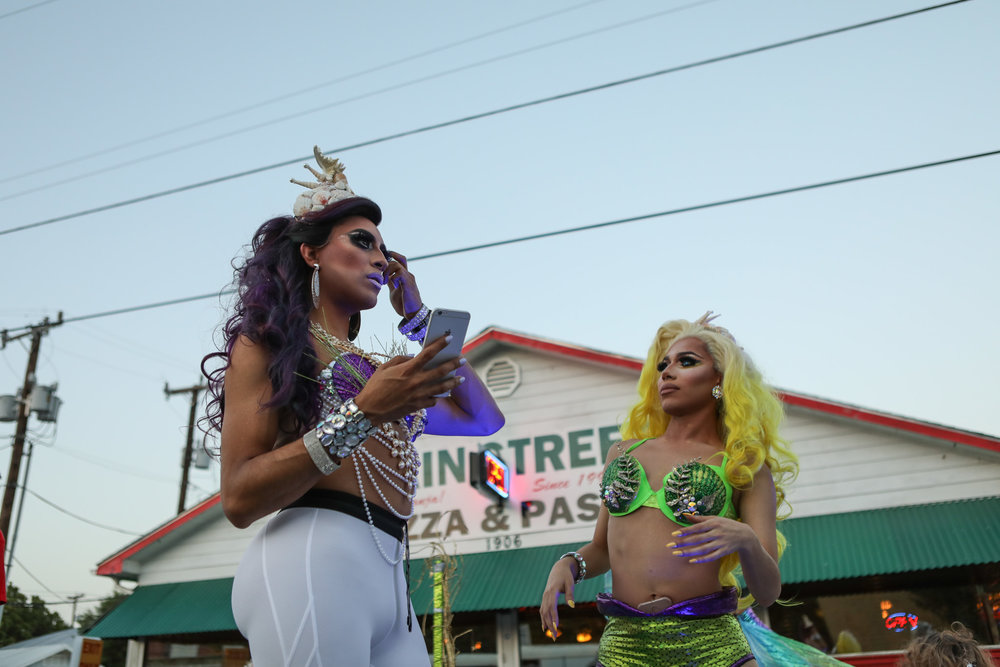 1 July 2017, San Antonio, TX – Drag queens on Babio's float prepare for the PRIDE Bigger Than Texas Parade on Main Avenue. (Copyright Bonnie Arbittier)