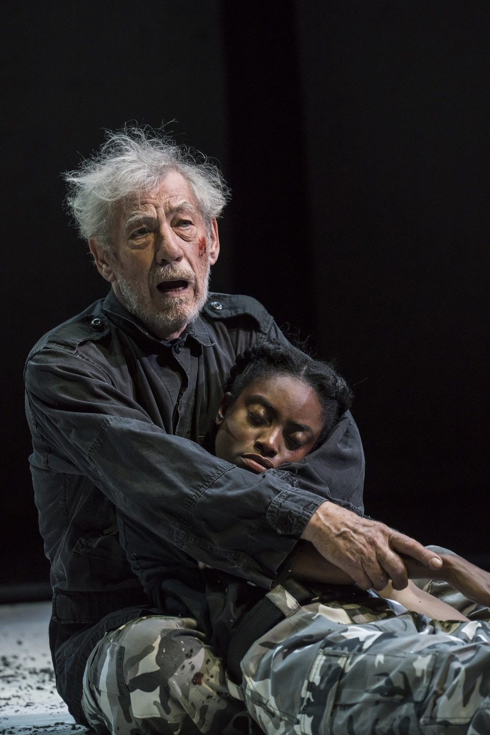 NTL 2018 King Lear - Ian McKellen (King Lear) and Anita-Joy Uwajeh (Cordelia) at Duke of Yorks Theatre. Photo by Johan Persson.jpg