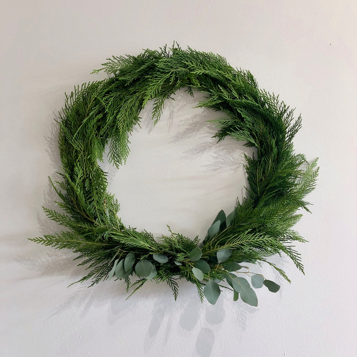 "18"" Fresh Cedar & Eucalyptus Wreath {$48.00}"