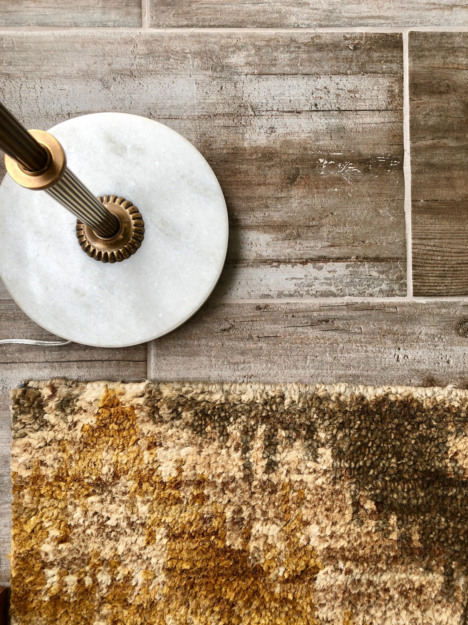 XV-04 Grey/Gold Soft Jute Rug 2x3 by Loloi {$140.00} with a Brass & Marble Floor Lamp {$836.00}