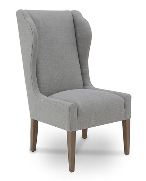 "At almost 48"" high, this Amelie chair by Verellen looks right at home with a larger desk.  Select the fabric, wood finish, and add nailhead detailing if you wish.  Options starting at $1700.00.  • Overall Height: 44.5"" • Overall Width: 23.5"" • Seat Height: 20"" • Exterior Depth: 29"" • Seat Depth: 18  Tight Seat and tight back.  Slipcover optional."