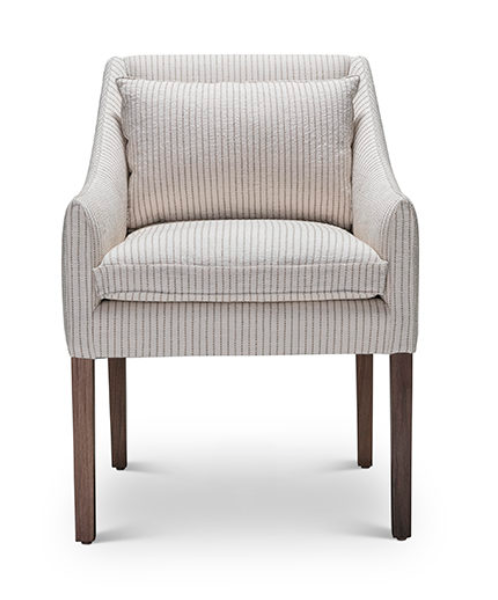 "This is the side chair that made me fall head over heels for Verellen -- the Jill chair is perfect for office or dining.  Standard with a plush, down back pillow and beautiful skinny wooden legs.  The pinched seam detail is my favorite.    Options starting at $1320.00.  See this style in person at our shop in Countryside Village.  • Overall Height: 34"" • Overall Width: 23.5"" • Seat Height: 18"" • Exterior Depth: 26"" • Seat Depth: 22"""