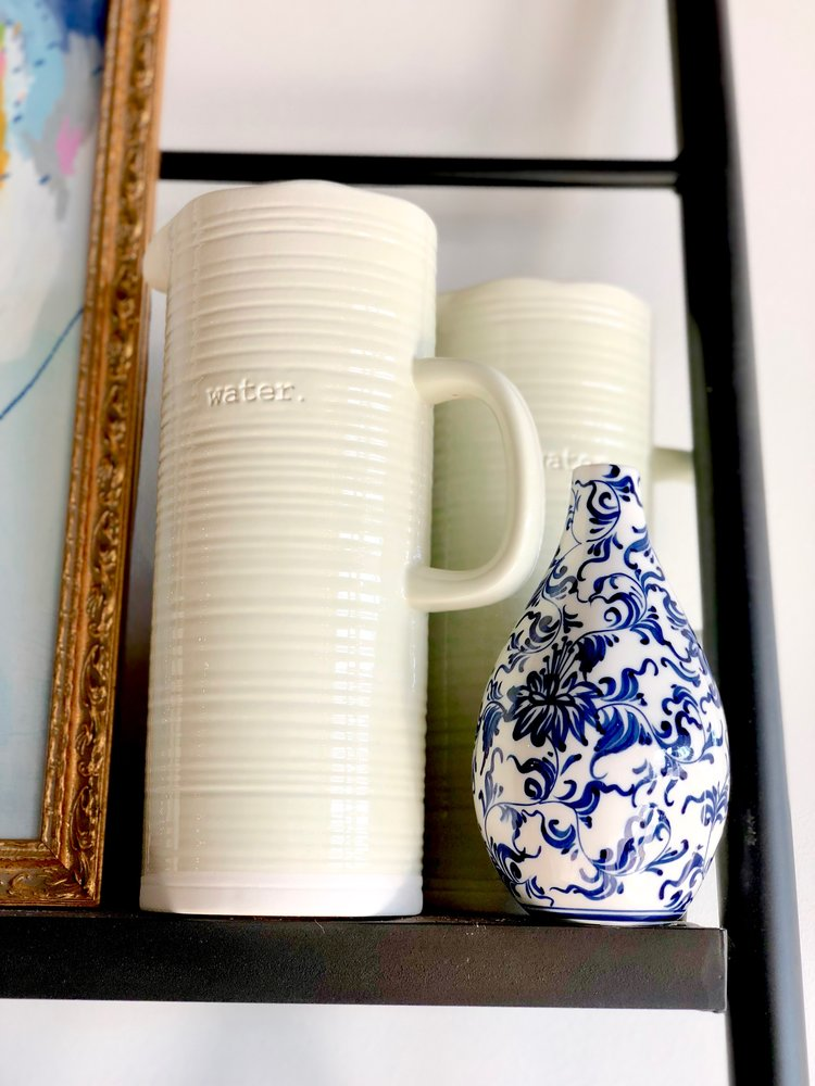 Water Pitcher | $48.00  ;   Painted Blue Vase | $34.00